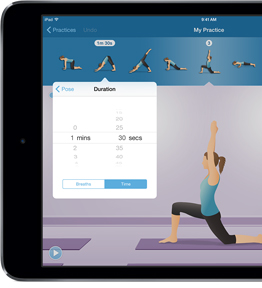 Practice Builder iPad adjusting pose duration