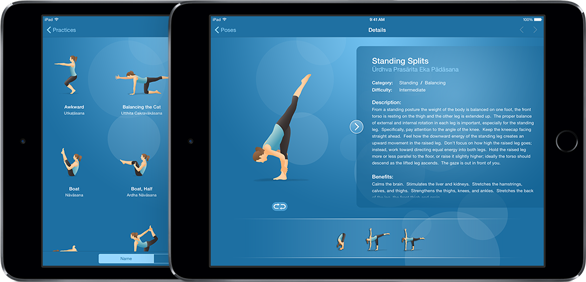 Pocket Yoga iPads with pose dictionary
