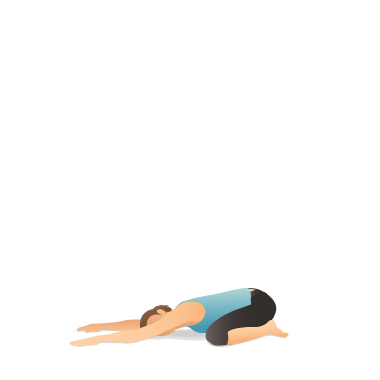 yoga pose wide child's with side stretch  pocket yoga
