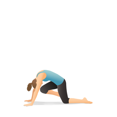 Yoga Pose: Box with Knee to Forehead