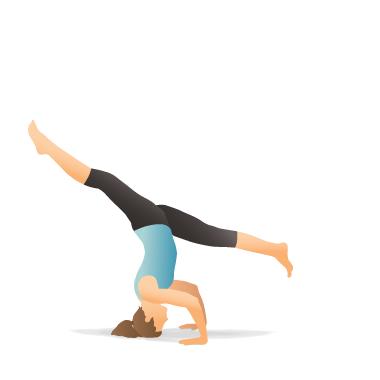 yoga pose tripod headstand  spiral the legs  pocket yoga