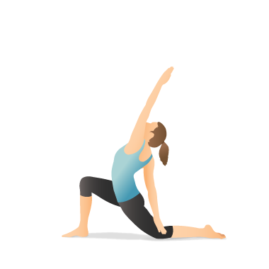 yoga pose reverse crescent lunge twist on the knee