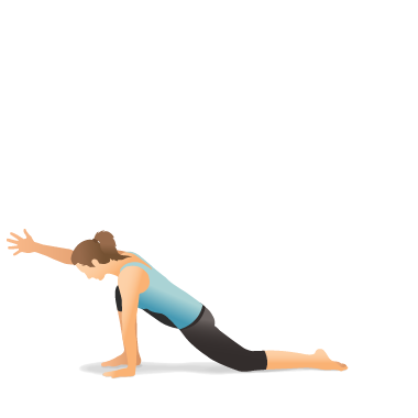 yoga pose lunge on the knee with arm extended forward