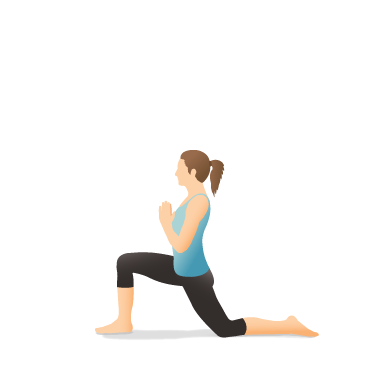 yoga pose crescent lunge on the knee with prayer hands
