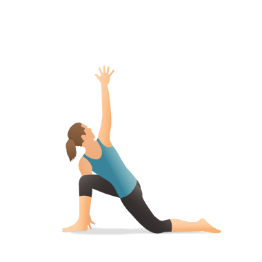 Yoga Pose: Revolved Crescent Lunge on the Knee with Extended Arms (Utthita Parivṛtta Aṅjaneyāsana)