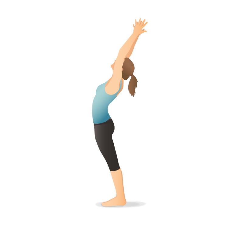Yoga Pose: Mountain with Arms Up (Tāḍāsana)