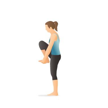 yoga pose standing head to knee preparation  pocket yoga