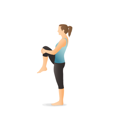yoga pose standing knee to chest  pocket yoga