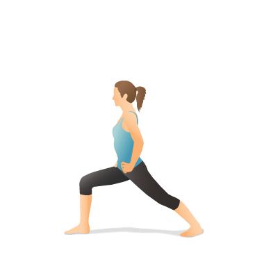 yoga pose warrior i with hands on hips  pocket yoga