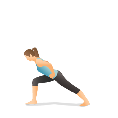Yoga Pose: Warrior I Forward Bend with Hands on Hips